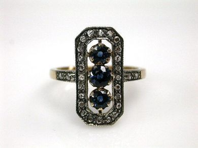 67711-June /Edwardian Inspired Sapphire and-Diamond Ring Cynthia Findlay Antiques CFA1205267 67743