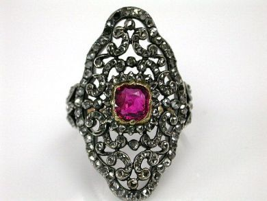 67711-June /Georgian Spinel and Diamond Ring Cynthia Findlay Antiques CFA1205253 67726