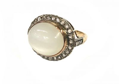 Vintage Inspired Moonstone and Diamond Ring