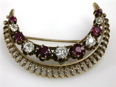 67711-June /Ruby Crescent Brooch Cynthia Findlay Antiques CFA1205233