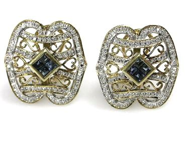 Vintage Sapphire and Diamond Openwork Earrings