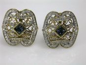 Vintage Sapphire and Diamond Openwork Earrings
