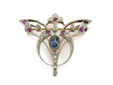 Antique Sapphire Diamond Brooch