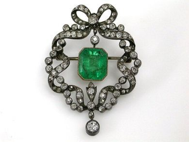 68172-July /Antique Emerald Brooch Cynthia Findlay Antiques CFA120614