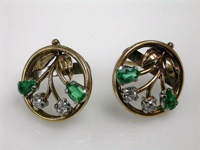 Vintage Emerald and Diamond Floral Earrings