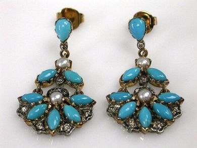 68172-July /Turqoise Earrings Cynthia Findlay Antiques CFA120634C