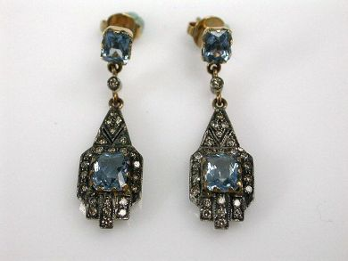 68195-July /Aquamarine Drop Earrings Cynthia Findlay Antiques CFA1206308C