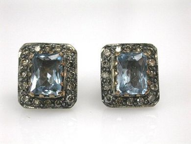 68195-July /Aquamarine Studs Cynthia Findlay Antiques CFA1206300C