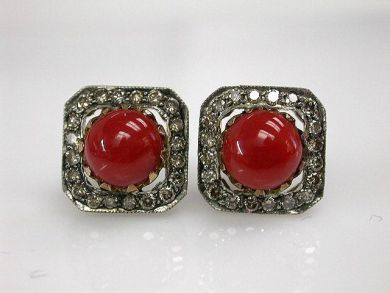68195-July /Coral Earrings Cynthia Findlay Antiques CFA1206302C