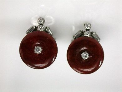 68397-July /Carnelian Diamond Earrings CFA120714