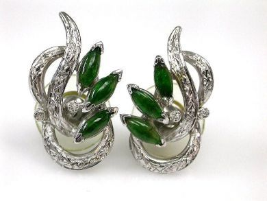 68397-July /Floral Jade Earrings Cynthia Findlay Antiques CFA1206340