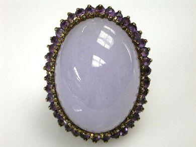 Vintage Lavender Jade and Amethyst Ring