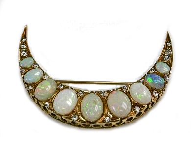 Vintage Opal and Diamond Crescent Brooch