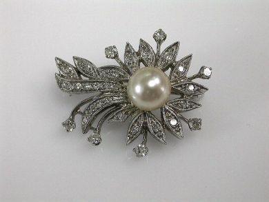 Vintage Pearl and Diamond Brooch