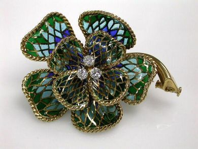 68397-July /Plique a Jour Enamel Brooch Cynthia Findlay Antiques CFA1207172