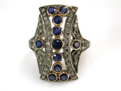 68397-July /Sapphire Openwork Ring Cynthia Findlay Antiques CFA120772