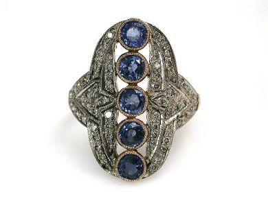 68397-July /Sapphrie Ring Cynthia Findlay Antiques CFA120780C