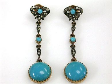68397-July /Turquoise Drop Earrings Cynthia Findlay Antiques CFA120797C