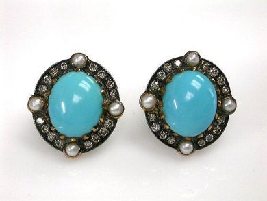 68397-July /Turquoise Earrings Cynthia Findlay Antiques CFA1207170C