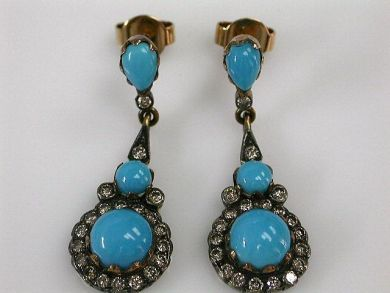 68397-July /Turquoise Earrings Cynthia Findlay Antiques CFA120796C