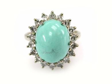 Vintage Turquoise and Diamond Cluster Ring