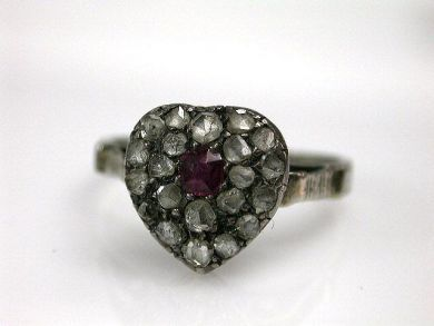 Antique Ruby And Diamond Heart Ring