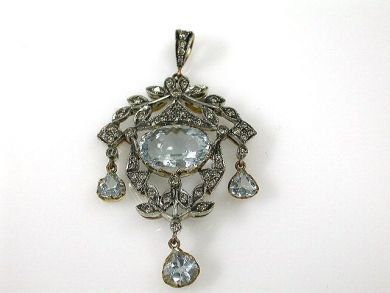 68450-August/Aquamarine Pendant Cynthia Findlay Antiques CFA1207276C 1