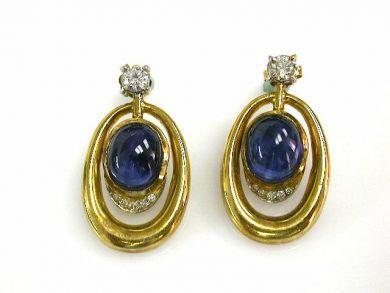 68450-August/Cabochon Sapphire Earrings Cynthia Findlay Antiques CFA1207340