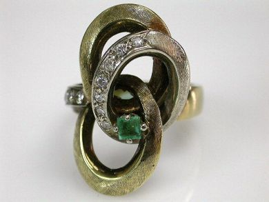 68450-August/Emerald Knot Ring Cynthia Findlay Antiques CFA1207303