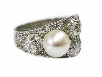 Art Deco Pearl and Diamond Engagement Ring
