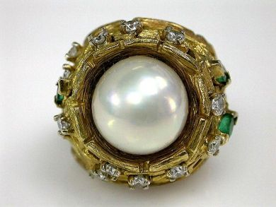Vintage Pearl Diamond Emerald Ring