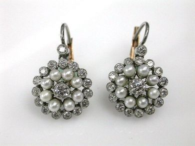 68518-September/Diamnd and Pearl Earrings Cynthia Findlay Antiques CFA1207314