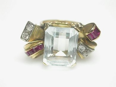 68668-March/Retro Aquamarine Ring Cynthia Findlay Antiques CFA130350