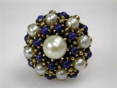 68700-September/Pearl Cluster Ring Cynthia Findlay Antiques CFA1208148