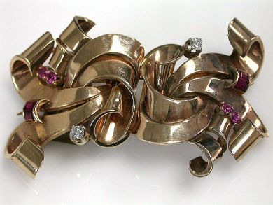 68700-September/Retro Double Clip Brooch Cynthia Findlay Antiques CFA1208174C