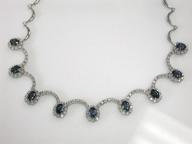 Vintage Inspired Sapphire and Diamond Necklace