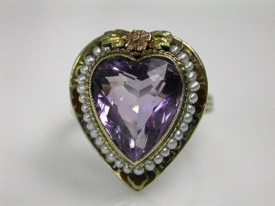 68712-November/Heart-Shaped Amethyst Ring Cynthia Findlay Antiques CFA120911