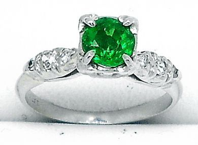 Vintage Tsavorite Garnet and Diamond Ring