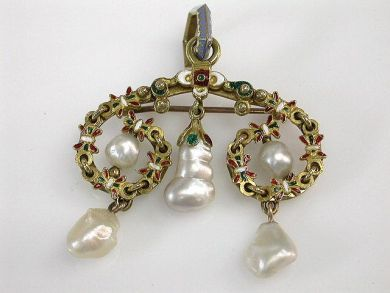69101-November/Enamel and Pearl Pendant Cynthia Findlay Antiques CFA1210173
