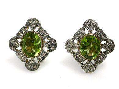 Vintage Peridot and Diamond Earrings