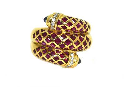 Vintage Ruby Diamond Sapphire Snake Ring