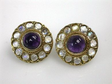 69200-November/Amethyst and Moonstone Earrings Cynthia Findlay Antiques CFA1210394