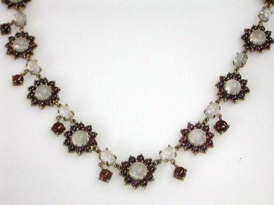 69200-November/Moonstone and Garnet Necklace Cynthia Findlay Antiques  CFA1210264C