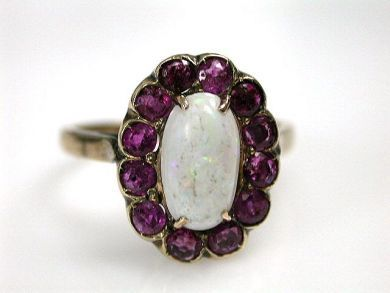 69200-November/Opal and Ruby Cluster Cynthia Findlay Antiques CFA1210388