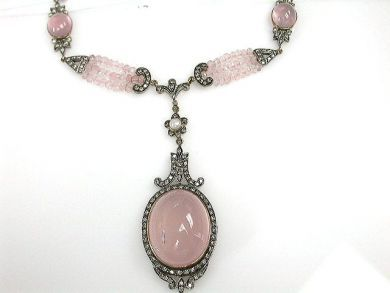 69200-November/Rose Quartz Necklace Cynthia Findlay Antiques CFA1210376C