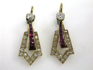 Victorian Ruby and Diamond Earrings