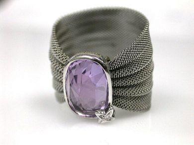 Modern Amethyst and Diamond Mesh Ring