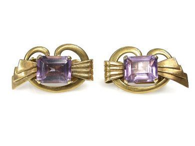 69367-December/Amethyst Retro Earrings Cynthia Findlay Antiques CFA121247