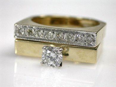 Modern Diamond Ring Set