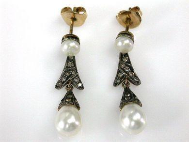 69462-January/Pearl and Diamond Earrings Cynthia Findlay Antiques CFA1211121C